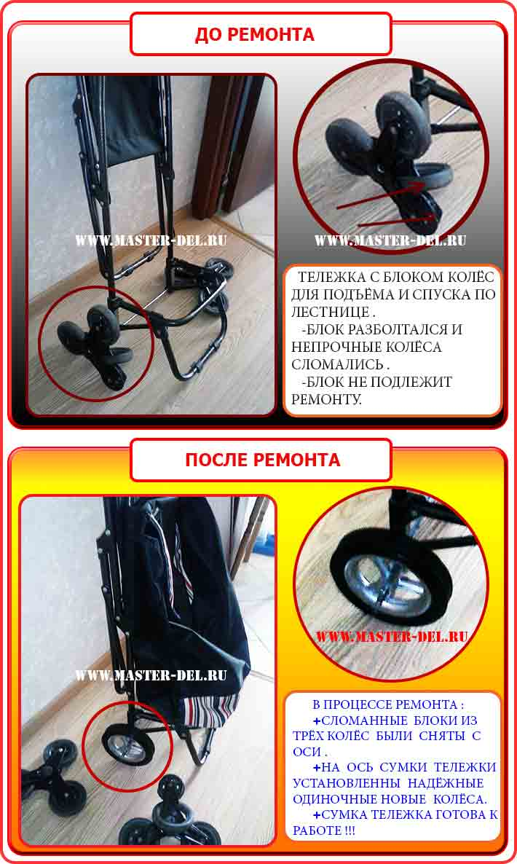 ремонт блока (3)трёх колёсного сумки тележки