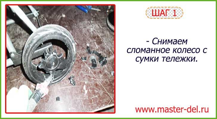 ремонт сумки тележки: смена колеса